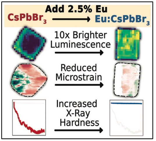 Europium Addition Reduces Local Structural Disorder and Enhances Photoluminescent Yield in Perovskite CsPbBr3